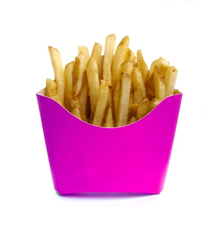 French fry in pink box isolated on white nackground photo