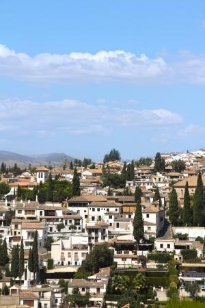 View on Alhambra, Granada and beautiful spanish landscape