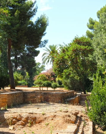 Beautiful view on ancient buildings and gardens of Alhambra photo