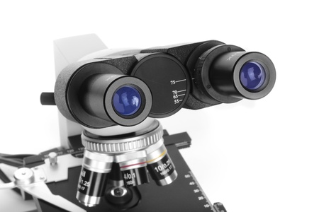 ocular: Ocular of microscope close-up isolated on white background
