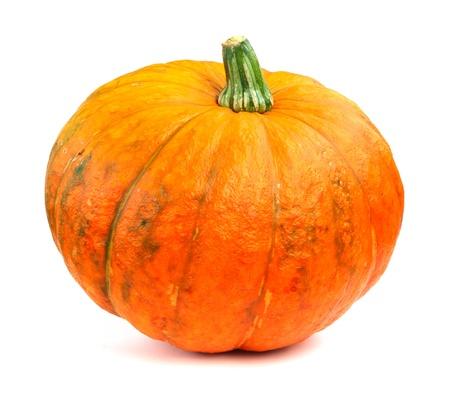 Fresh orange pumpkin islated on white background close-up Stock Photo