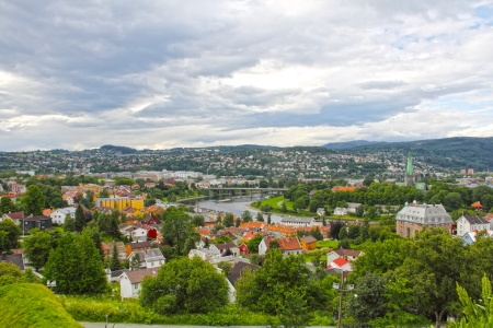 Panoramic view on city of Trondheim in summer photo