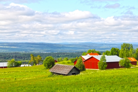 Landscape with mountains and scandinavian village at summer photo