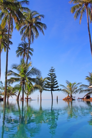 Pool on a tropical beach - vacation background photo