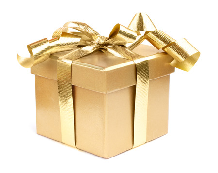 decotated: Golden gift box decotated with ribbon isolated on white background
