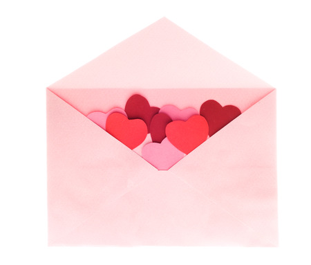 open envelope: Envelope with red hearts for valentine day on white background