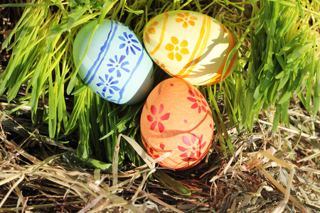 Three colored Easter eggs on hay and green grass renovation concept Stock Photo