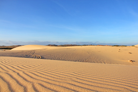 Sand desert landscape under bluy sky at sunny day photo