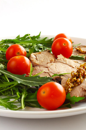Sliced meat and vegetables, healthy eating dinner concept