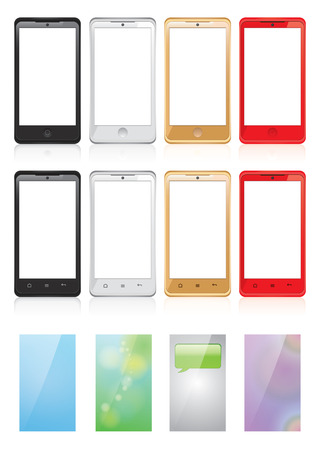 Vector illustration set of smartphones and screen backgrounds on white   background Vector