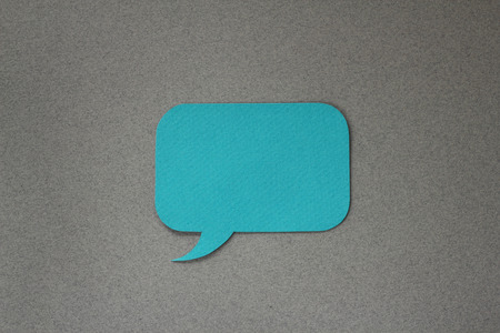 Blue paper dialog box on gray background with blank empty copy space photo