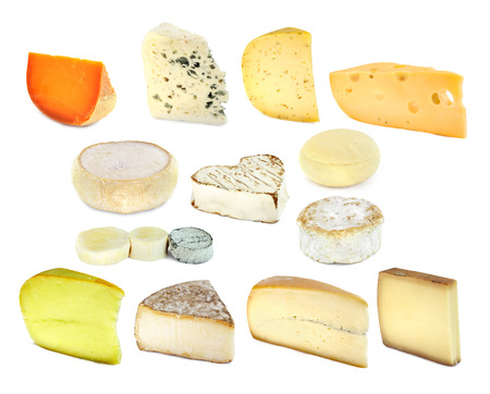 French cheese collection isolated on white background photo