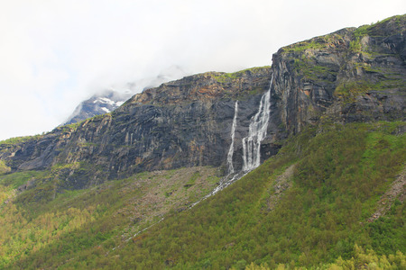 Beautiful landscape with mountains and waterfalls, Norway photo