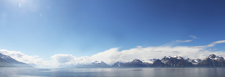 Arctic mountains and fjord in northern Norway at summer photo