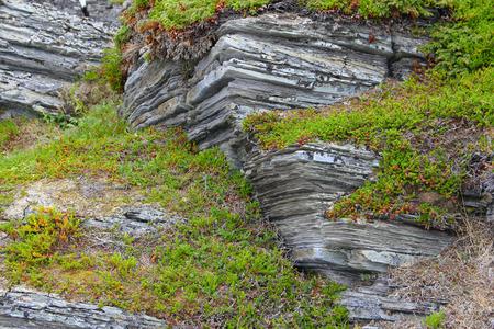 Geological rock layers of norwegian mounatins photo