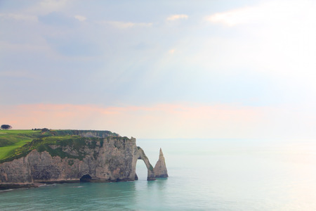 View on sea and cliffs in Etretat, Normandy, France photo