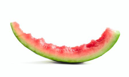 eaten: Slice of eaten watermelon isolated on white  Stock Photo