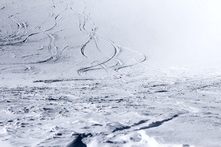 ski traces: Ski traces on snow in winter mountains close-up