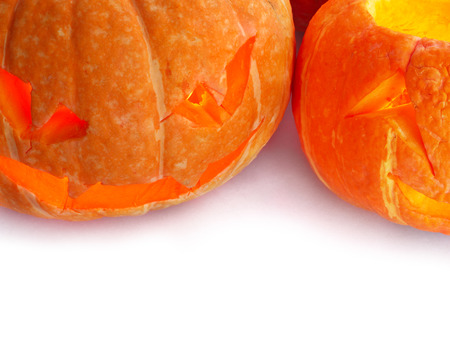 Glowing Halloween Pumpkins isolated on white background photo