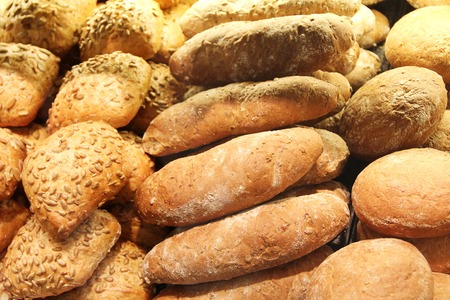 shopwindow: Bread on showcase in supermarket, close-up view
