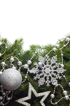 Christmas tree with decor isolated on white with copy space photo