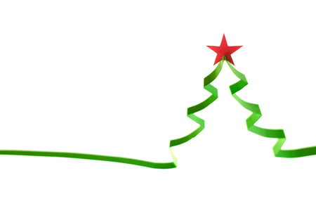 fir trees: Creative design of paper christmas tree isolated on white background