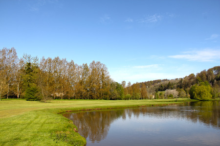 Beautiful landscape of golf course in Saint Saens, France Stock Photo