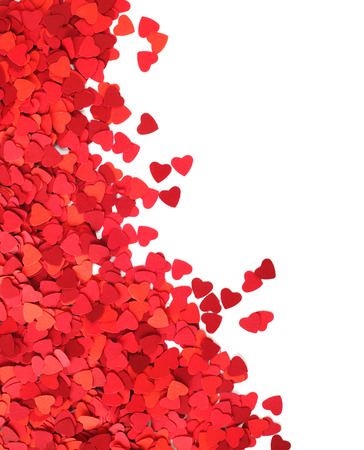 Corner frame made of paper hearts, isolated on white background, Valentines day concept photo
