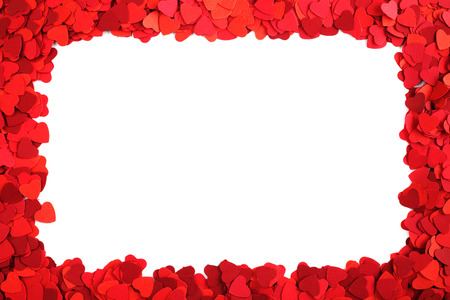 Rectangle frame made of paper hearts, isolated on white background, Valentines day concept photo