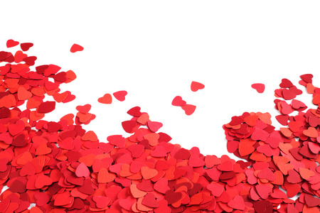 Frame made of paper hearts, isolated on white background, Valentines day concept photo