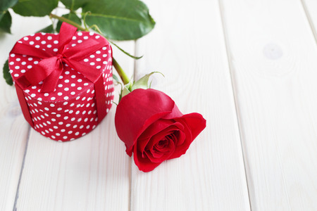 Rose and gift in heart shaped box, Valentines day concept