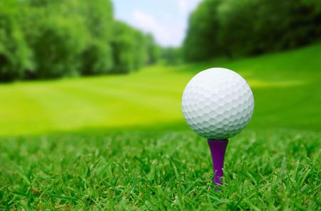 curso de capacitacion: Pelota de golf en curso con un hermoso paisaje borroso en el fondo Foto de archivo
