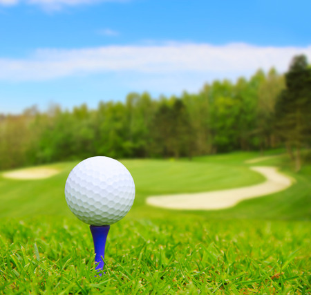 golfcourse: Golf ball on course with beautiful blurry landscape on background