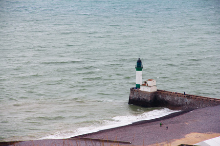 plage: Panoramic view on Lighthouse in Fort Mahon Plage, Normandy, France