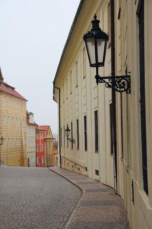 stare mesto: Narrow pedestrian alley between tenement houses in Prague. Stare Mesto. Old town.