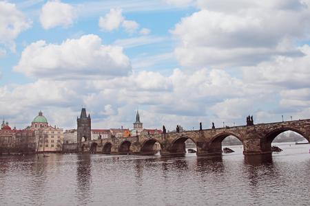 most: Charles Bridge (Karluv Most) over Vltava river, Czech Republic