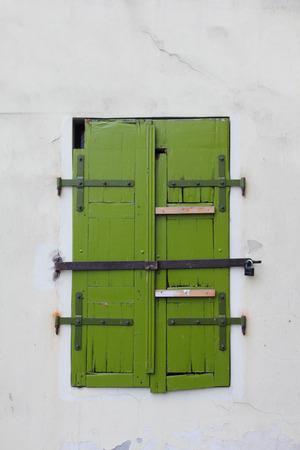 praha: Old style window of house in Prague, Stock Photo