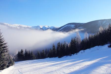 krkonose: Slope on the skiing resort Spindleruv Mlyn, Krkonose, Czech Republic