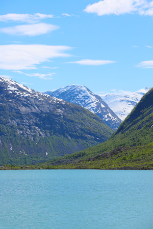 jostedalsbreen: Mountain landscape with glacial river in Jostedalsbreen National Park, Briksdalen valley, Norway