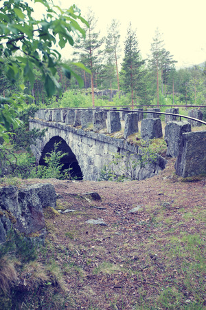 nasty: Old stone bridge in forest at nasty summer day Stock Photo