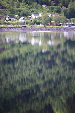 hardanger: Mountain forest with reflection in water of Hardanger fjord, Norway Stock Photo