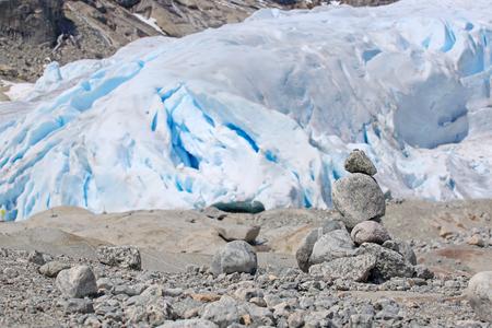 jostedalsbreen: Stack of rocks near Nigardsbreen Glacier in Jostedalsbreen National Park, Norway