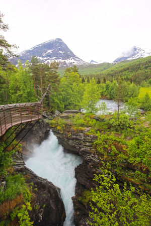 seething: Beautigul powerful Glacial river in summer,  Norway Stock Photo