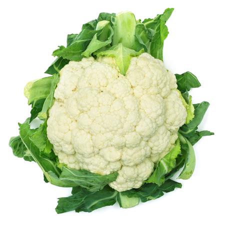 One fresh cauliflower isolated on white background