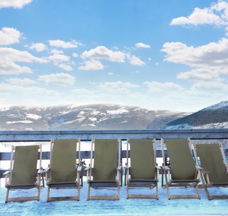 krkonose: Chairs on the skiing resort Spindleruv Mlyn, Krkonose, Czech Republic