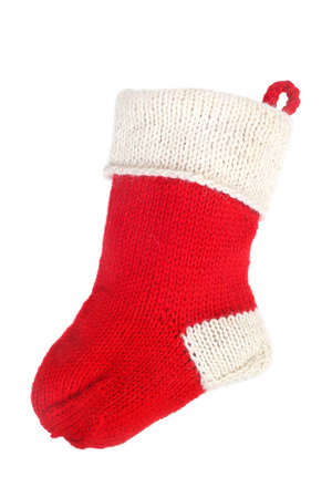 christmas sock: Red Christmas sock isolated on white background