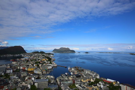 Panoramic View on beautiful Norway city Alesund at summer day, 24-06-2015 Stock Photo