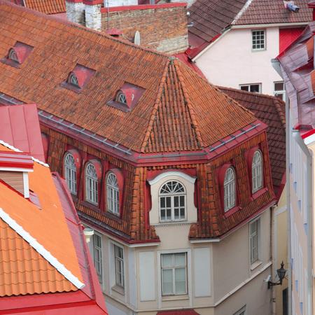 Beautiful houses in old town of Tallinn, Estonia