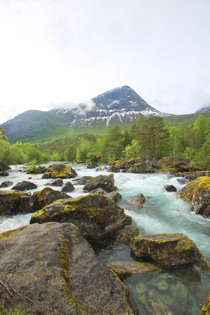 Beautigul powerful Glacial river in summer,  Norway Stock Photo