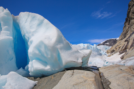 jostedalsbreen: Close-up view at Nigardsbreen Glacier in Jostedalsbreen National Park, Norway Stock Photo